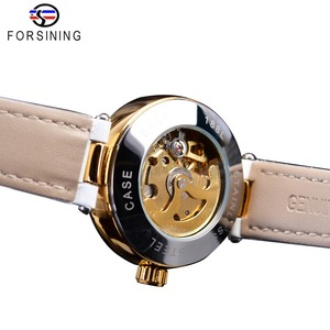 Image 4 - Forsining White Gold Mechanical Automatic Luxury Top Brand Lady Wrist Watch Skeleton Clock Women Leather Dress Age Girl Watches