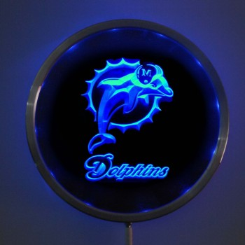 rs-0135 Miami Dolphins LED Neon Round Signs 25cm 10 Inch - Bar Sign with RGB Multi-Color Remote Wireless Control Function