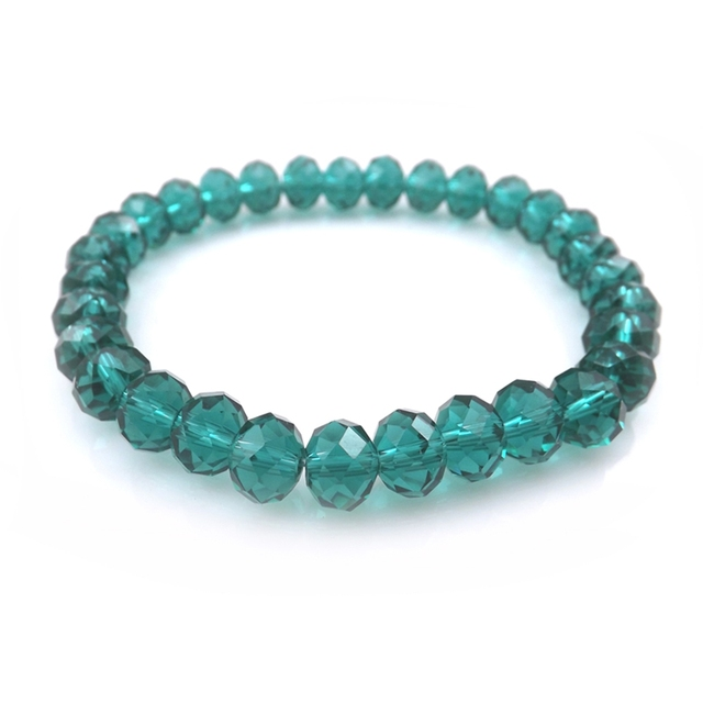 Pea Color 8mm Faceted Crystal Beaded Bracelet For Women Simple Style Bracelets 20pcs Lot Free