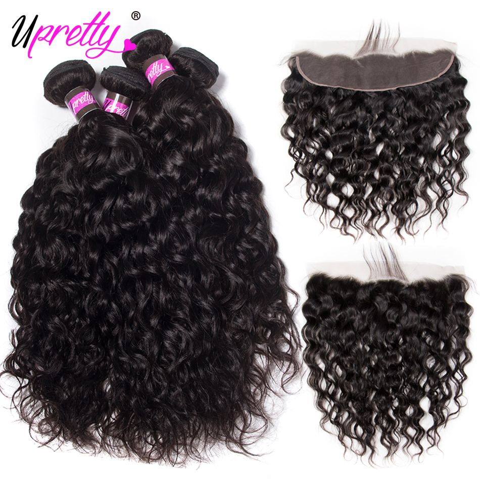 Upretty Hair Brazilian Water Wave Bundles with Frontal 13*4 Lace Frontal with Bundles Remy Human Hair Extensions Natural Color