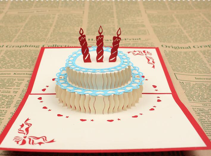 Birthday Greeting Card Handmade Party Invitation 3d Cake Delicate
