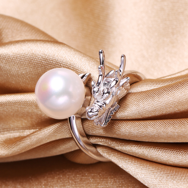 FENASY Pearl Jewelry Pearl rings,Dragon ring,punk Natural Freshwater Pearl wedding rings,rings for women jewelry box,aliexpress