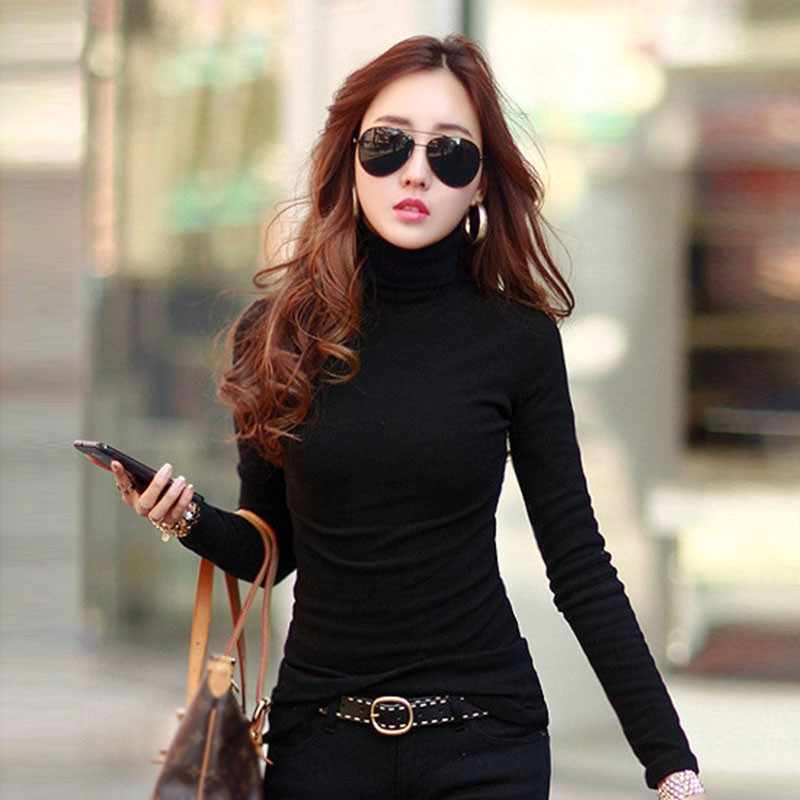 Herbst Winter Fashion Langarm Rollkragen Tops Baumwolle Slim Fit T-Shirt Casual Frauen Sexy Stretchy Hemd Damen Basic Tee
