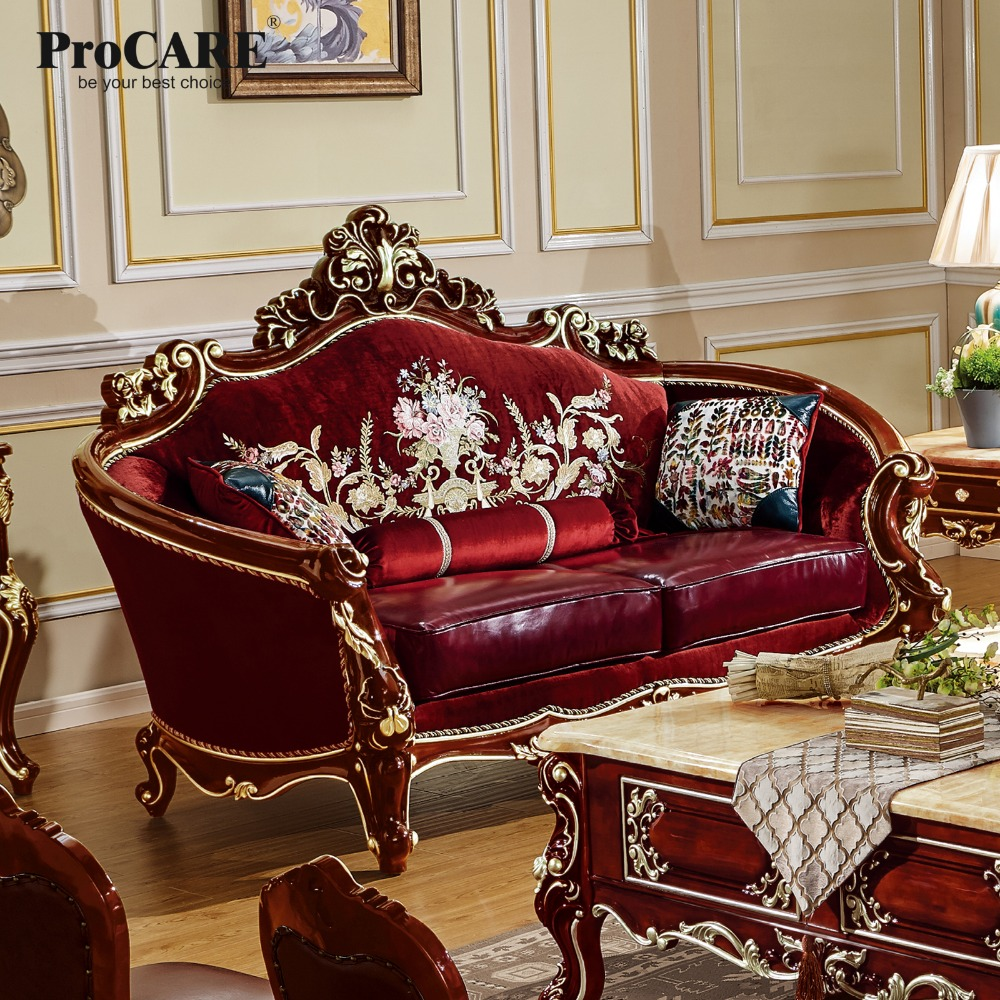 PROCARE Modern Antique Quality Luxury European Style Fabric With Leather Sofa Set 1+1+2+3 Living Room Furniture Set