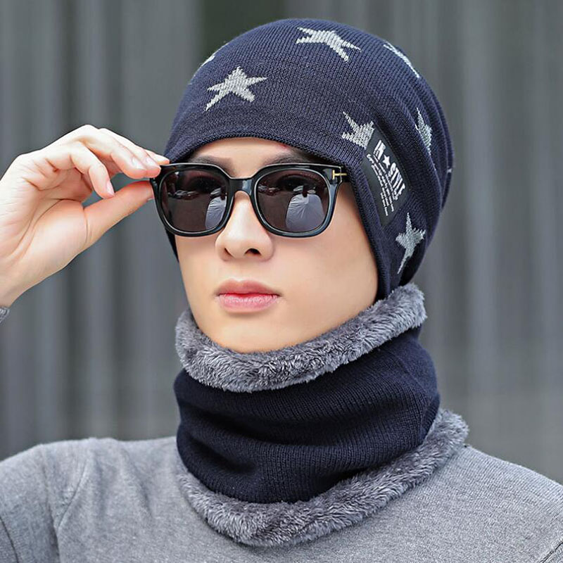 SUOGRY Bone Male Men's Winter Hat Knitted Wool Beanies Men Hip Hop Cap Turban Caps Skullies Balaclava Hats For Women Gorros Mask