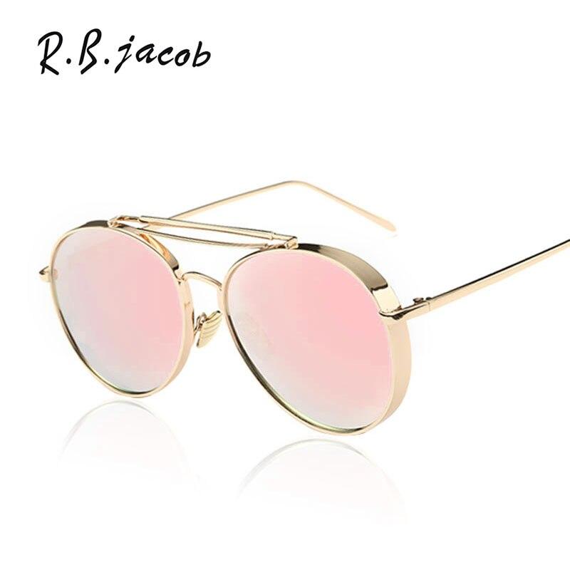 Pink Sunglasses Women Brand Designer UV400 Shades Golden ladies Eyewear Female Metal frame pilot Sun glasses for Men Aviation