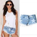 2016 New Women Denim Shorts Sexy Low-Waist Stars Print Ripped Jeans Shorts Brush Short Jeans Slim Shorts Super Plus size Jeans