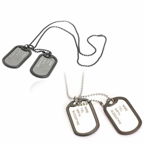 Military Army Style Black Sliver 2 Dog Tags Chain Mens Pendant Necklace Jewelry Items 88 KQS
