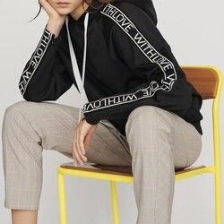 Новинка весны 2019, модные женские Простые повседневные толстовки с капюшоном с длинным рукавом и буквенным принтом