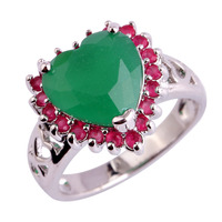Heart Love Nice Ruby Emerald 925 Silver Ring Size 6 7 8 9 10 11 12 Women Wedding Engagement Luxury Jewelry New Present Wholesale