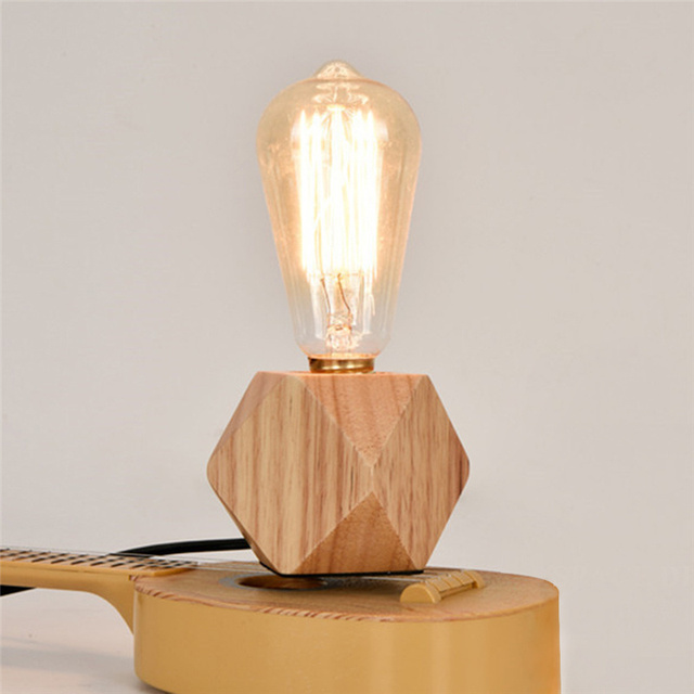 Modern Table Lamp Wooden Base Book Lights Desk Night Light E27 Holder Mini Retro Bedside