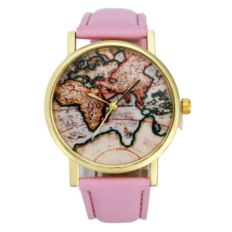 Women Watch Casual Vintage Earth World Map Leather Strap  Watches Alloy Woman Analog Quartz Wristwatch   relogio feminino