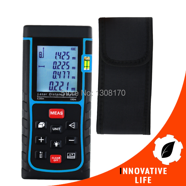 Digital Laser Distance Area Volume Pythagorean w/ Spirit Level Industrial Construction Use Measurer 100 Meter Range Finder Tool
