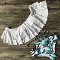 Ariel Sarah New Bikini Doubledeck Flouncing Swimsuit Plus Size Swimwear High Waist Women Bathing Suit Off