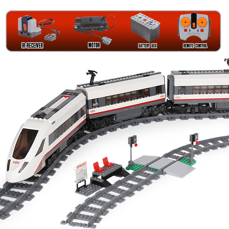 610Pcs High-speed Passenger Train 02010 Building Blocks Bricks Toys For Children Figure Compatible Legoing Technic City 60051