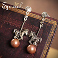 Special New Fashion Long Earrings Fairy Carrousel Drop Earrings Ear Stud Synthetic Pearl Jewelry 2017 Gifts for Women S1631E