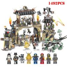 1492 шт. ninjagoo Серия Тяжелый Дракон база замок, домик блоки Совместимые фигурки Ниндзя DIY Кирпичи игрушки для детей Подарки