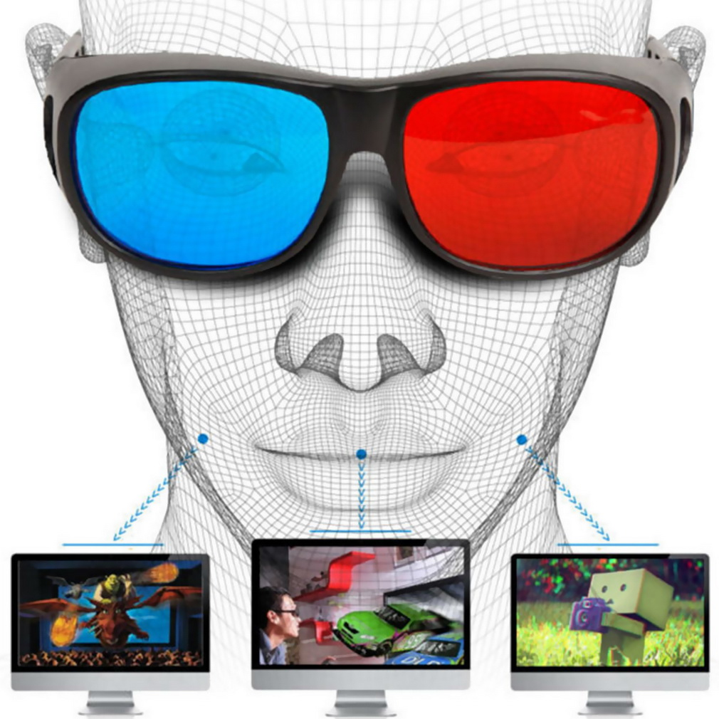Universal Type 3D Glasses TV <font><b>Movie</b></font> Dimensional Anaglyph Video Frame 3D Vision Glasses DVD Game Glass Red And Blue Color jul 6 image