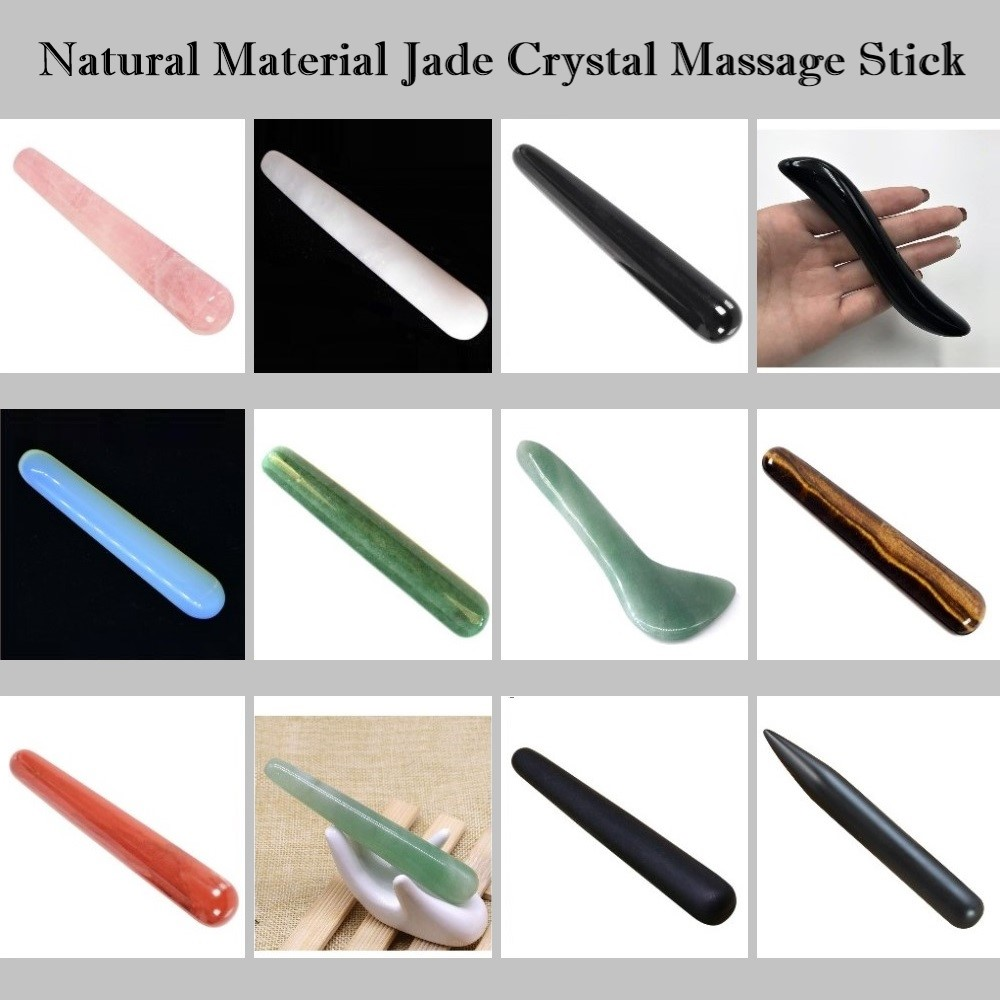 Natural Rose Quartz Jade Crystal Healing Massage Wand Face Facial Beauty Health Care Thin Dredge The Meridian Acupoint Massager