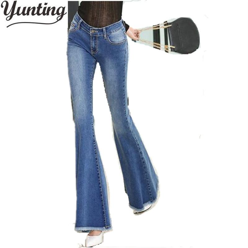 women Autumn Slim Fit Mid Waist Flare Jeans  Stretch Skinny Jeans Bell-Bottom Pants Denim Trousers