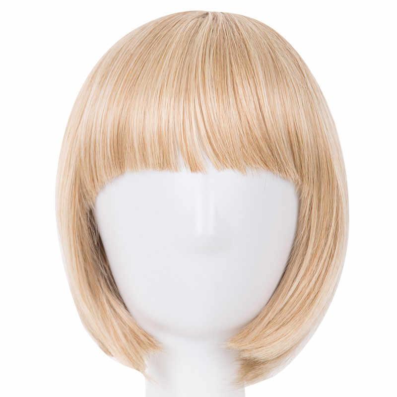 Krótkie włosy fei-show syntetyczne włókno termoodporne czarny Bob peruka z płaską grzywką nowoczesne Show Cosplay Halloween karnawałowe peruki