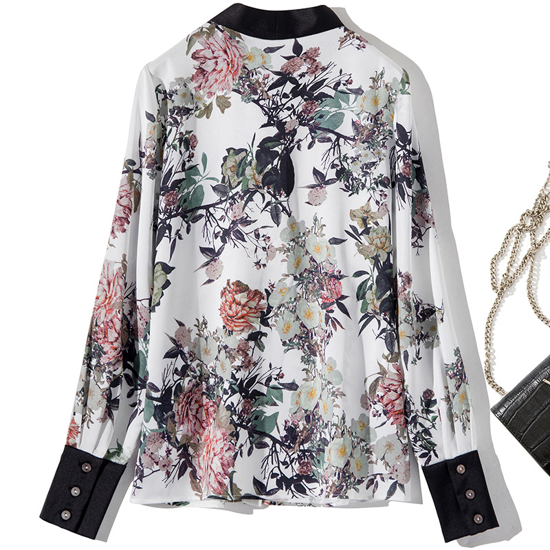 Botón Primavera Mujer Camisa Manga Tops Calidad Arco Alta Gasa Damas Larga Casual Verano 2019 Collar De Blusa tf7fgOq0