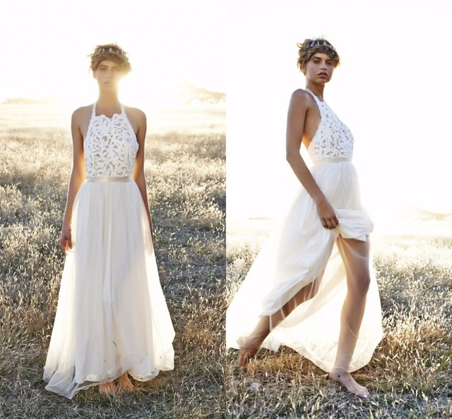 Rustic 2015 Backless Bridal Gowns With Wedding Veil Simple