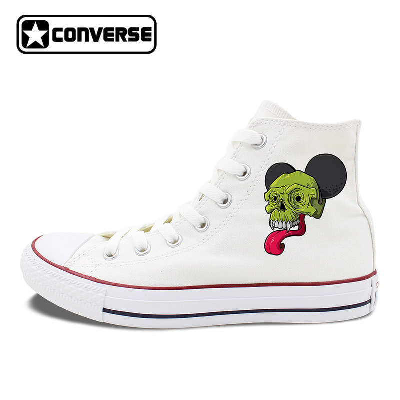 Unisex Converse Shoes White Black Canvas Sneakers Original Design Long Tongue Monster Skull Lace Up Flats Skateboarding glowing sneakers usb charging shoes lights up colorful led kids luminous sneakers glowing sneakers black led shoes for boys