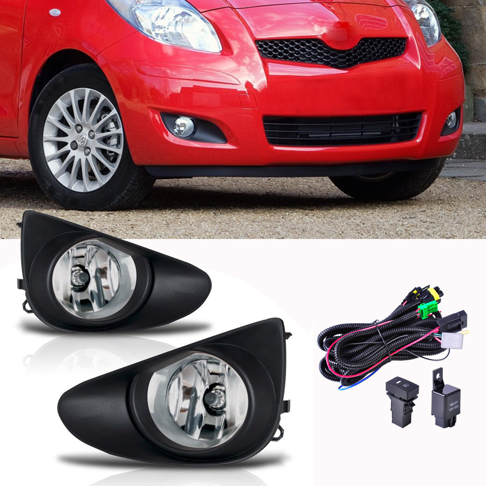 Pair Left&Right Front Clear Fog Lights +Wiring Harnes+Black Grille Cover For Toyota Yaris Sedan 4D 2007 2012