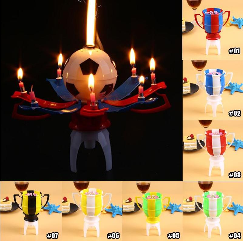 Musical Rotating Spin Football Soccer Birthday Celebration Candles Cake Topper Happy With 8 Candle Lights Gift