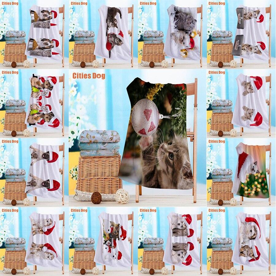 Nouvelle Année décoration chats et chien serviette De Plage Modèle animal Microfibre Voyage extérieur Sport Piscine Camping Bain Tapis De Yoga