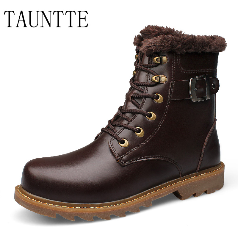 Tauntte Men Boots Genuine Leather Keep Warm Martin Work Boots Plush Mid-Calf  Snow Boots Plus Size With FurTauntte Men Boots Genuine Leather Keep Warm Martin Work Boots Plush Mid-Calf  Snow Boots Plus Size With Fur