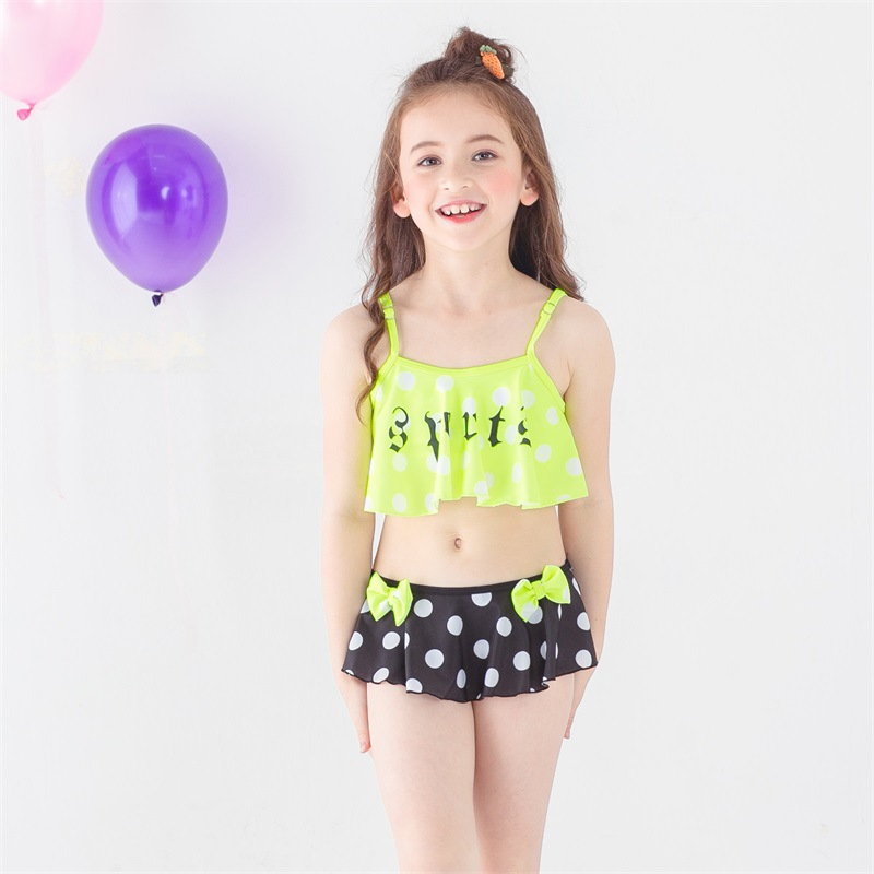 Falbala Dot Print Bikinis Girls Split Swimwear Swimsuit With Skirt 2019 New Baby Kids Children Swimsuits Biquini Bathing Suit