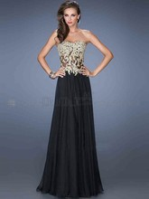 Handmade A-line Sweetheart Strapless Floor-length Chiffon Appliques Prom Dresses Party 2014