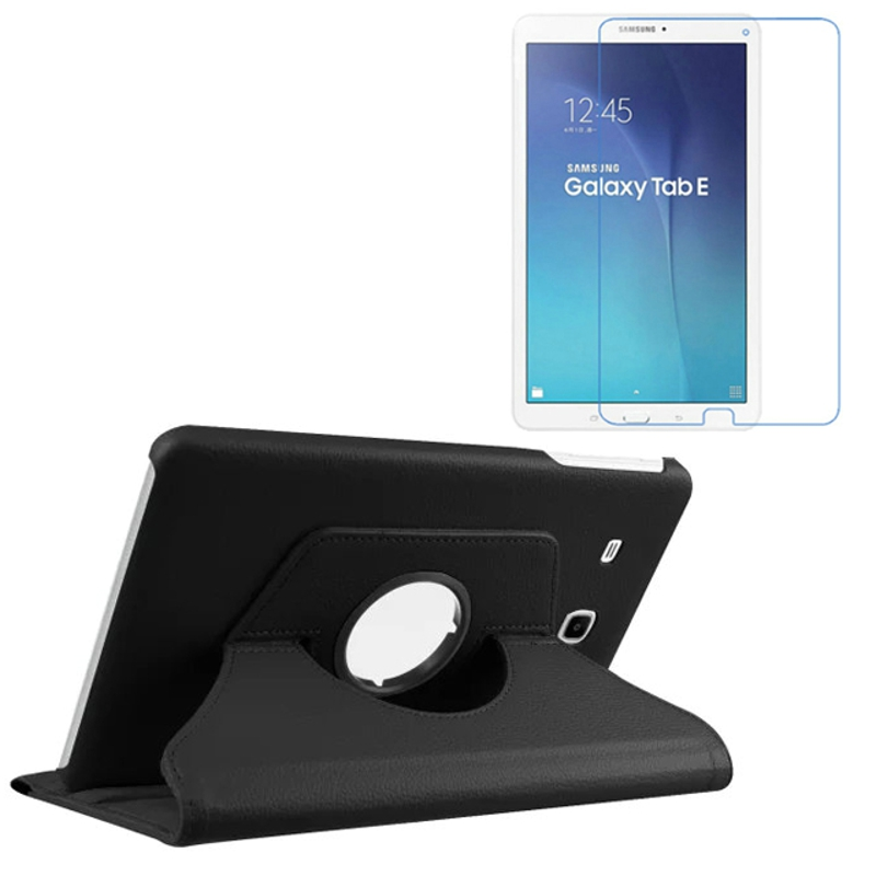 Rotating 360 Degree Luxury Folio Stand Leather Case Cover +1x Screen Protector For Samsung Galaxy Tab E T560 T561 SM-T560 9.6 m3 lite 10 0 rotating folio  leather