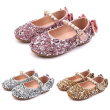 Kids Shoes For Girls Flat Sandals Princess Sandals 2019 Baby Child Fashion Girls Bowknot Sequins Wedding Party Dress Shoes P25 2017 summer girls sandals children princess shoes for party wedding dress dance kids toddler shoes baby flat sandals