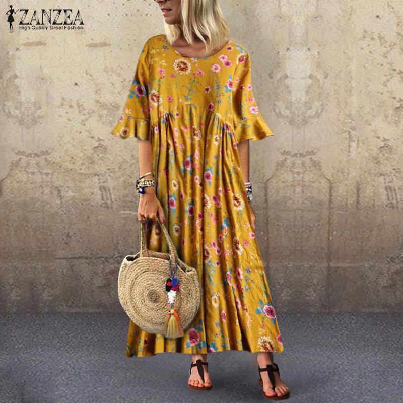 2019 Summer Long Maxi Dress ZANZEAWomen Floral Printd Sundress Bohemian  Short Sleeve Ruffles Vestidos Tunic Dresses Femme Robe