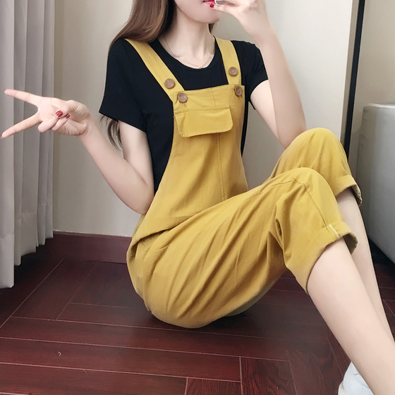women summer cotton loose o neck yellow cute pullover two piece set with ankle-length pants tracksuit for women plus size