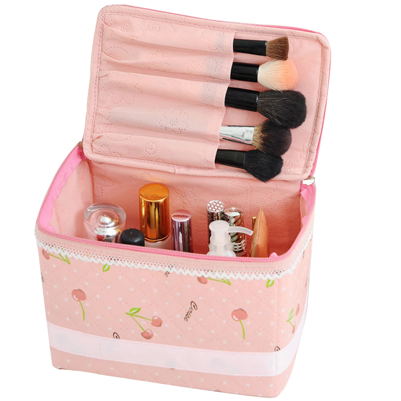 Lolita Lace Woman's Cosmetic Bag Toiletry Wash Travel Bag Pink Storage Makeup Case Beauticians Organizer Accessories Supplies