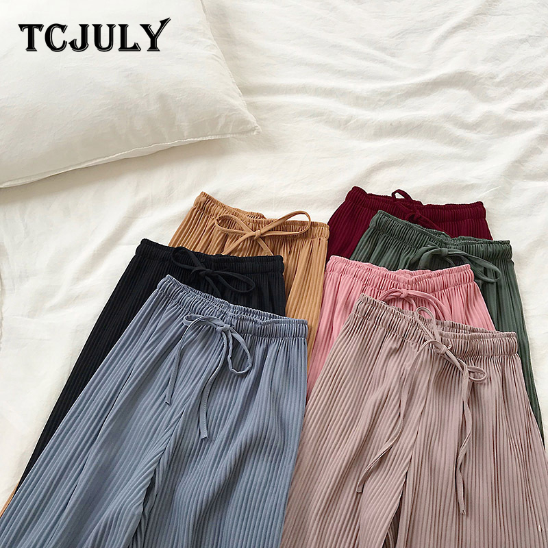 TCJULY New Stylish Solid Pleated   Wide     Leg     Pants   High Waist Drawstring Loose Casual Trousers Women Breathable Ankle Length   Pants
