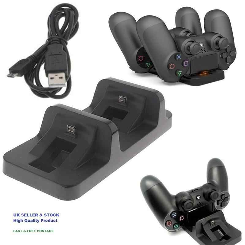 Kuulee Dual USB Pengisian Charger Dock Berdiri untuk PS4 Slim Controller