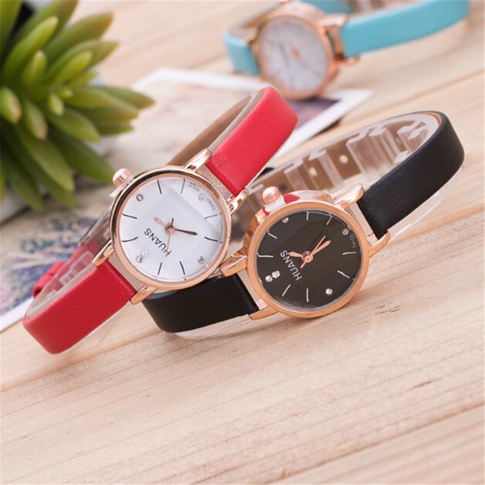 2019 HUANS Best Sell Minimalist Fashion Woman Fine Strap Leather Watch Travel Souvenir Birthday Clock Gifts Reloj Mujer Q