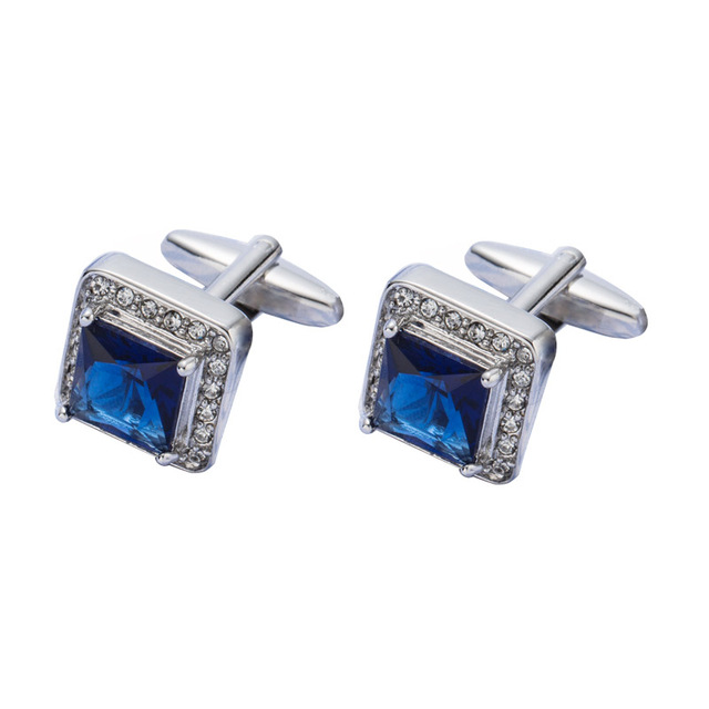 Vagula Blue Crystal Cufflinks Aaa Lawyer Cuffs Gemelos Jewelry Shirt Cuff Links 518