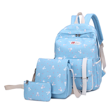 Здесь можно купить  New 2017 Fashion 3 pcs/set Women Cute Rabbit Printing Backpack School Bags For Teenagers Mochila Teenage Girls Children Hipster  Backpacks