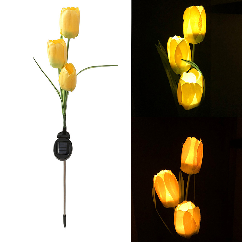 Christmas Lights Outdoor Solar Garden Light Solar Powered 3 Tulip Flower Landscape Lawn Lamp Thanksgiving Valentine's Day Gifts