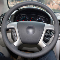Top Leather Steering Wheel Hand stitch on Wrap Cover For Chevrolet Captiva 2007 2014 Silverado GMC Sierra 07 13 Daewoo Winstorm