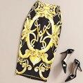 2016 Лето Осень Vintage Мода Печатных Юбка-Карандаш Midi Женщины Упругие Высокой Талией Дамы Барокко Bodycon Юбки faldas
