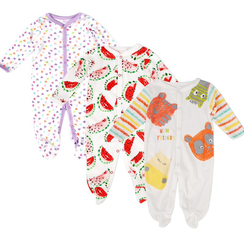 3Pcs/Lot Newborn Baby Romper Clothing Long Sleeve Boy Girl Baby Body Suit Costume Cartoon Printed Cotton Jumpsuit Clothes Roupas