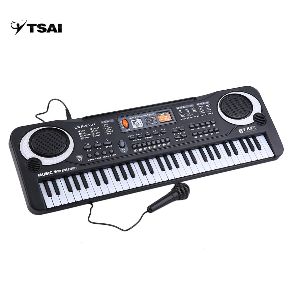 цены  TSAI Professional Electronic Organ Piano with 61 Keys Music Digital Keyboard Electric With Microphone Musical Instrument gifts