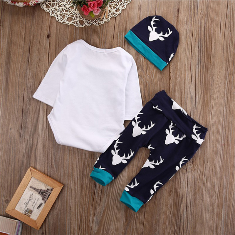 Autumn and winter boys romper cartoon long-sleeved baby romper jumpsuit cotton baby romper newborn clothes 3 pieces + hat pantsAutumn and winter boys romper cartoon long-sleeved baby romper jumpsuit cotton baby romper newborn clothes 3 pieces + hat pants